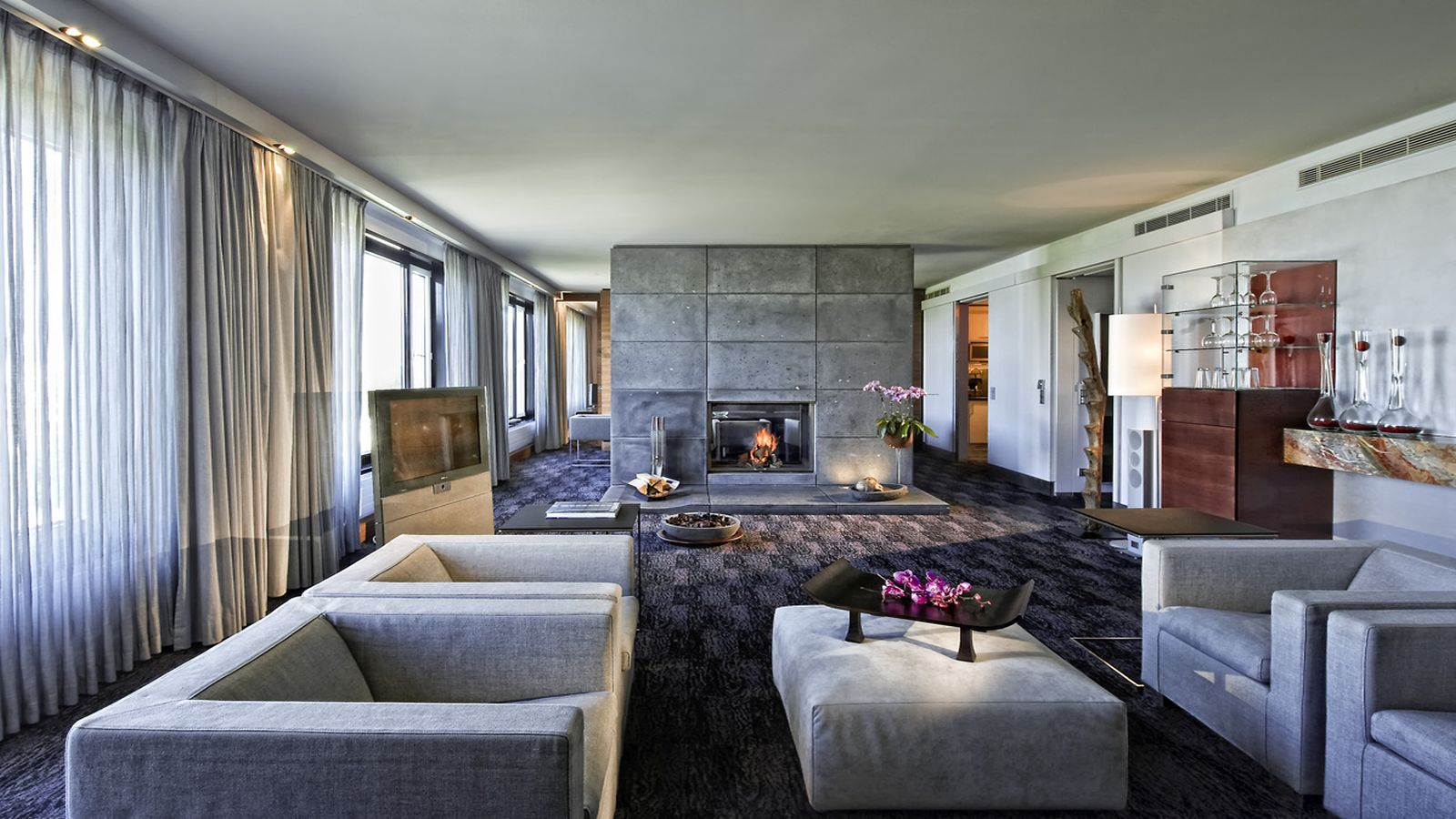 Living Room with Fireplace - Presidential Suite at Sheraton Berlin Grand Hotel Esplanade